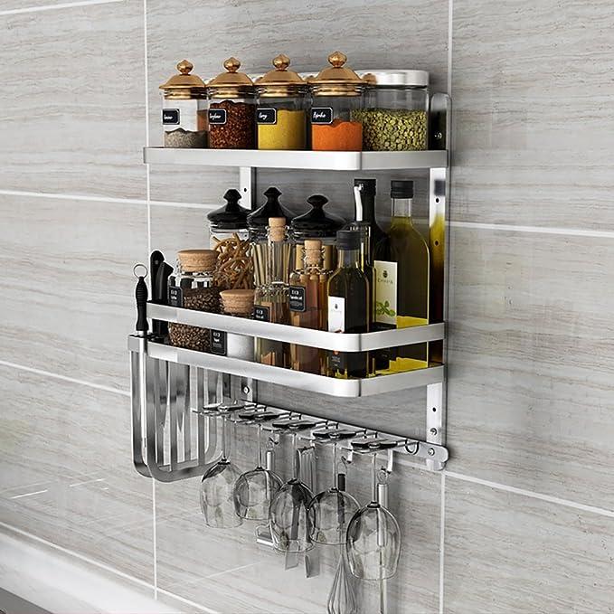 Juegos de barandas de utensilios de cocina colgantes de acero inoxidable Estante versátil de utensilios de cocina de acero inoxidable (Color : A3): ...