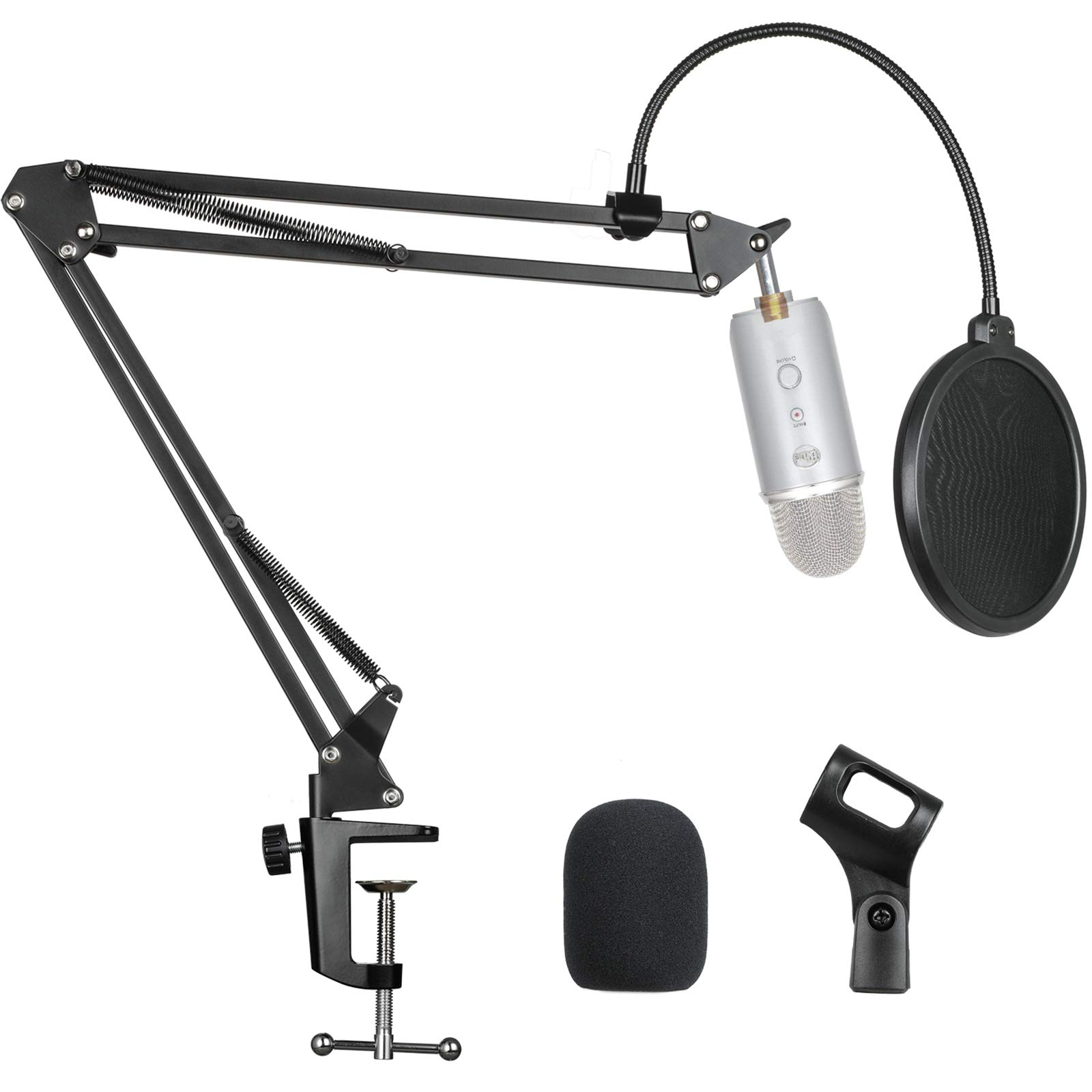 """Microphone Suspension Scissor Boom Bracket Stand with Pop Filter and Mic Holder, 5/8""""Screw for Blue Yeti, Snowball, Spark, Yeti x and All Other Microphones by Pipishell-PIMS01"""