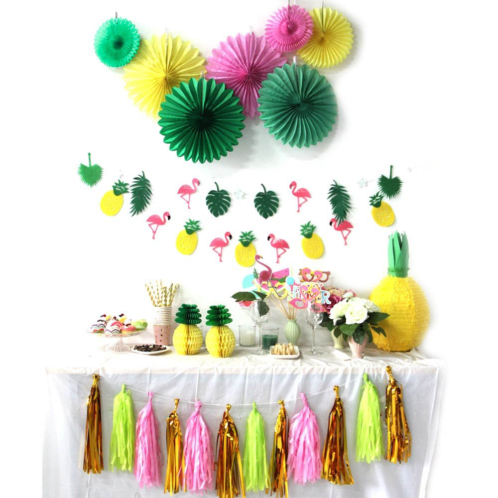 SUNBEAUTY Summer Party Decoration Kit Papier Rosace Photo Booth Flamants Ananas Tassel Guirlande pour Tropical Party Hawaiian Plage Decor