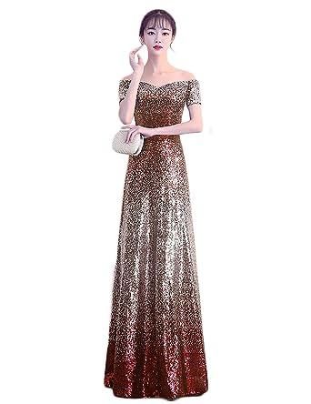 a919b9fbc5d LCRS Women s Sequins Off The Shoulder Evening Dresses Cap Sleeve Long A-Line  Prom Party