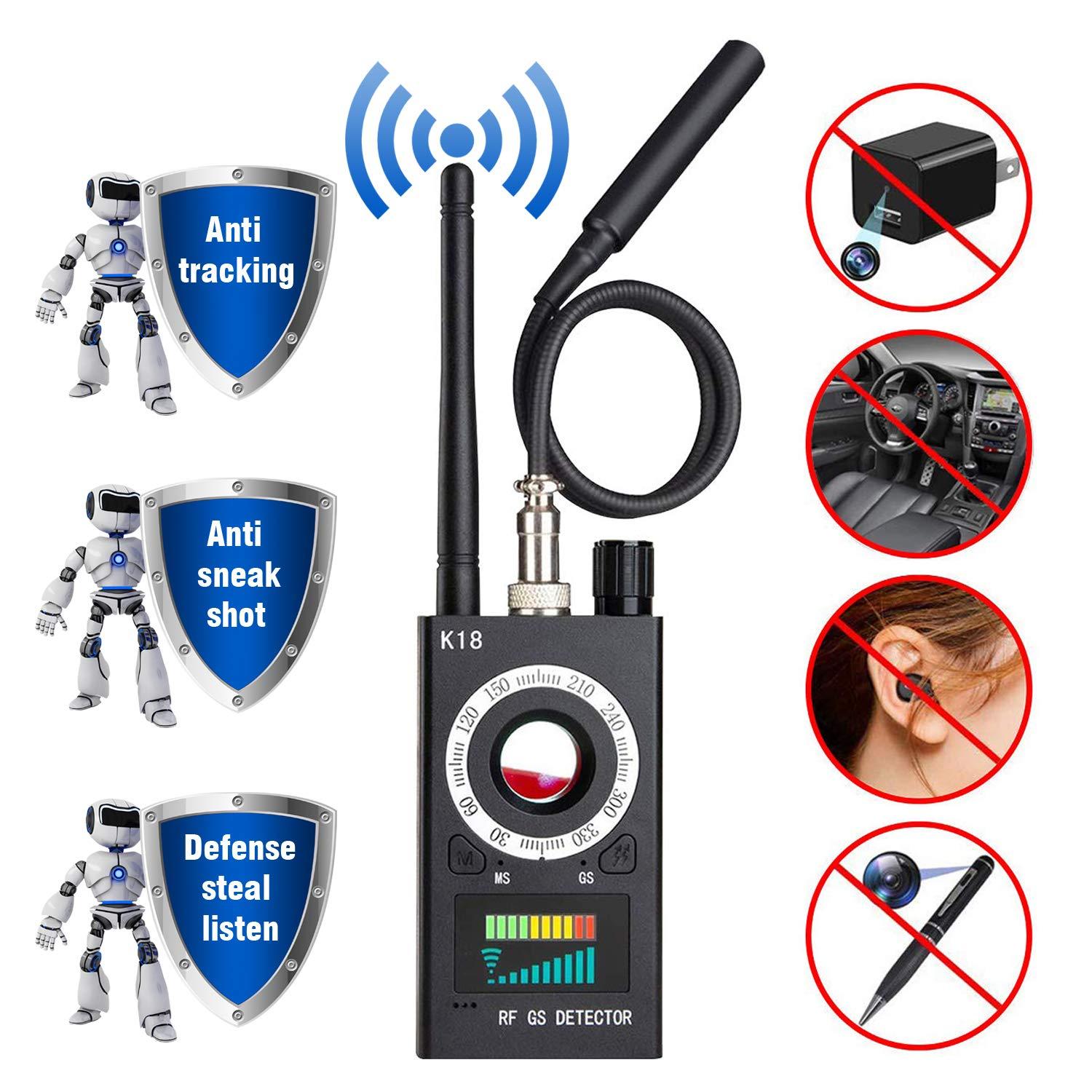 Anti Spy Detector & Camera Finder RF Signal Detector GPS Bug Detector Hidden Camera Detector for GSM Tracking Device GPS Radar Radio Frequency Detector by techtop
