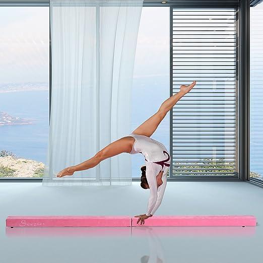 Trave da ginnastica equilibrio allenamento pieghevole casa legno 210 × 10 × 6.5cm rosa homcom ITA50-005PK0631