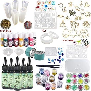 Kit Resina Epoxi UV Transparente Joyería 11 Moldes Silicona 13 Pigmentos 24 Decoraciones 17 Biseles para