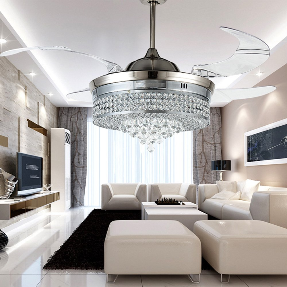 RS Lighting Unique Crystal Ceiling Fan and Light with Remote Control ...