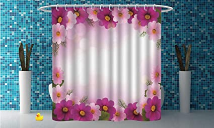 Cool Shower Curtain PinkFramework With Romantic Daisies Valentines Day Decor Celebration Theme