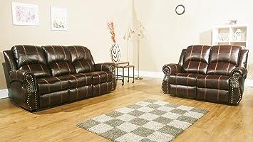 Rs Möbel Studio 3 Sitz Zurücklehnen Sofa Leder Braun 195 X 98 X