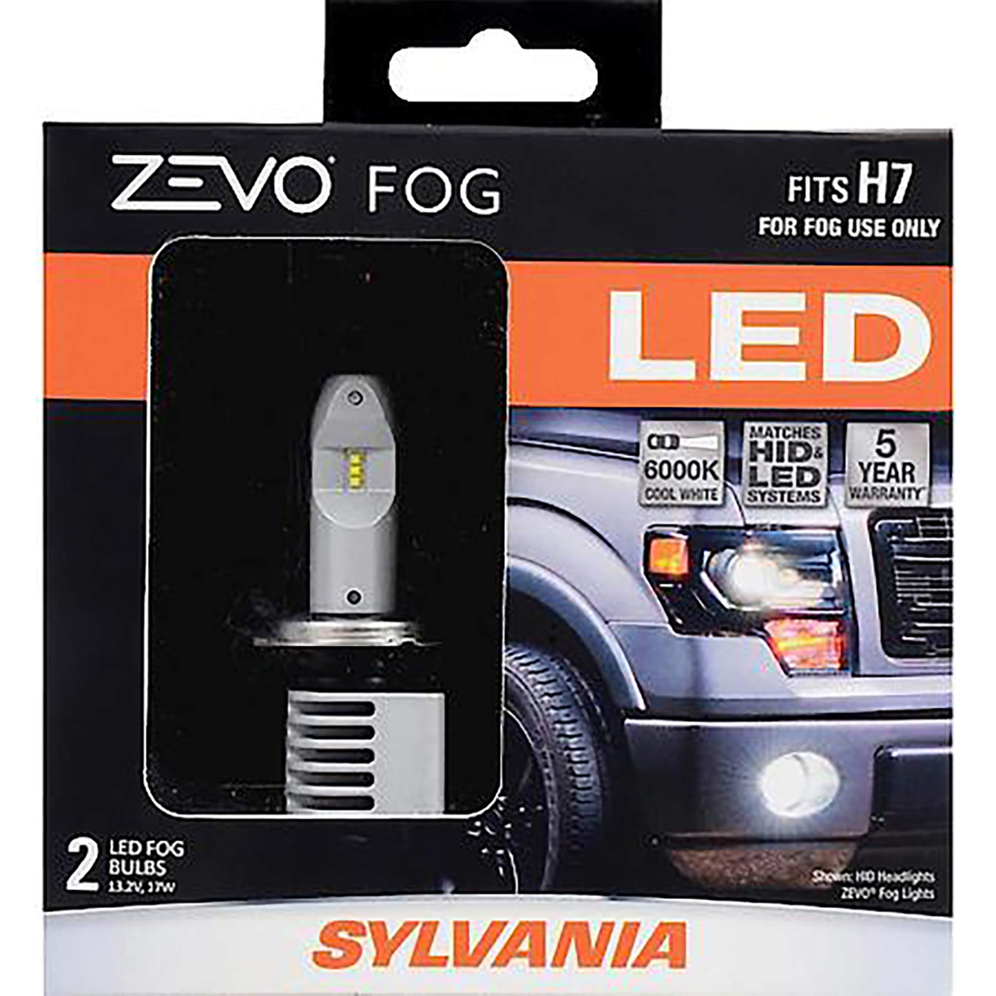 SYLVANIA - H7 ZEVO FOG LED - Premium Quality Fog Lights, Bright White LED Light Output, Matches HID & LED Headlight Lighting Systems, Added Style & Performance (Contains 2 Bulbs)