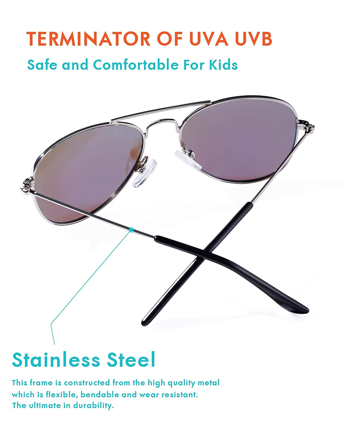 Silver, Purple 49MM Aviator Polarized Sunglasses for Kids Boys and Girls with Case UVB UV 400 Protection Youth Eyewear Age 2-8