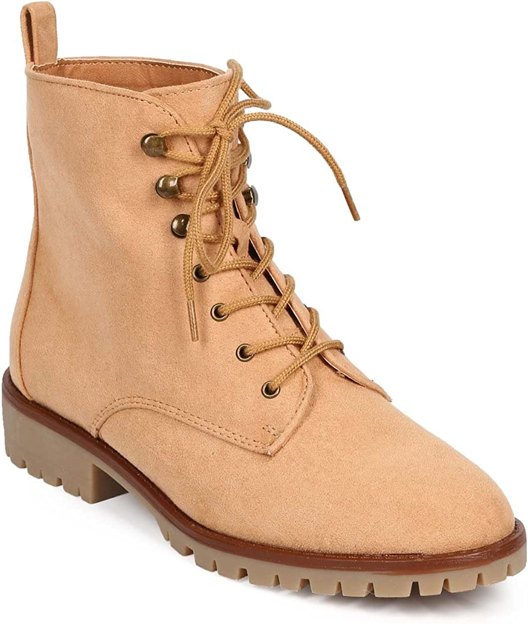 Qupid Women Suede Almond Toe Lace Up Tailored Combat Boot DC88