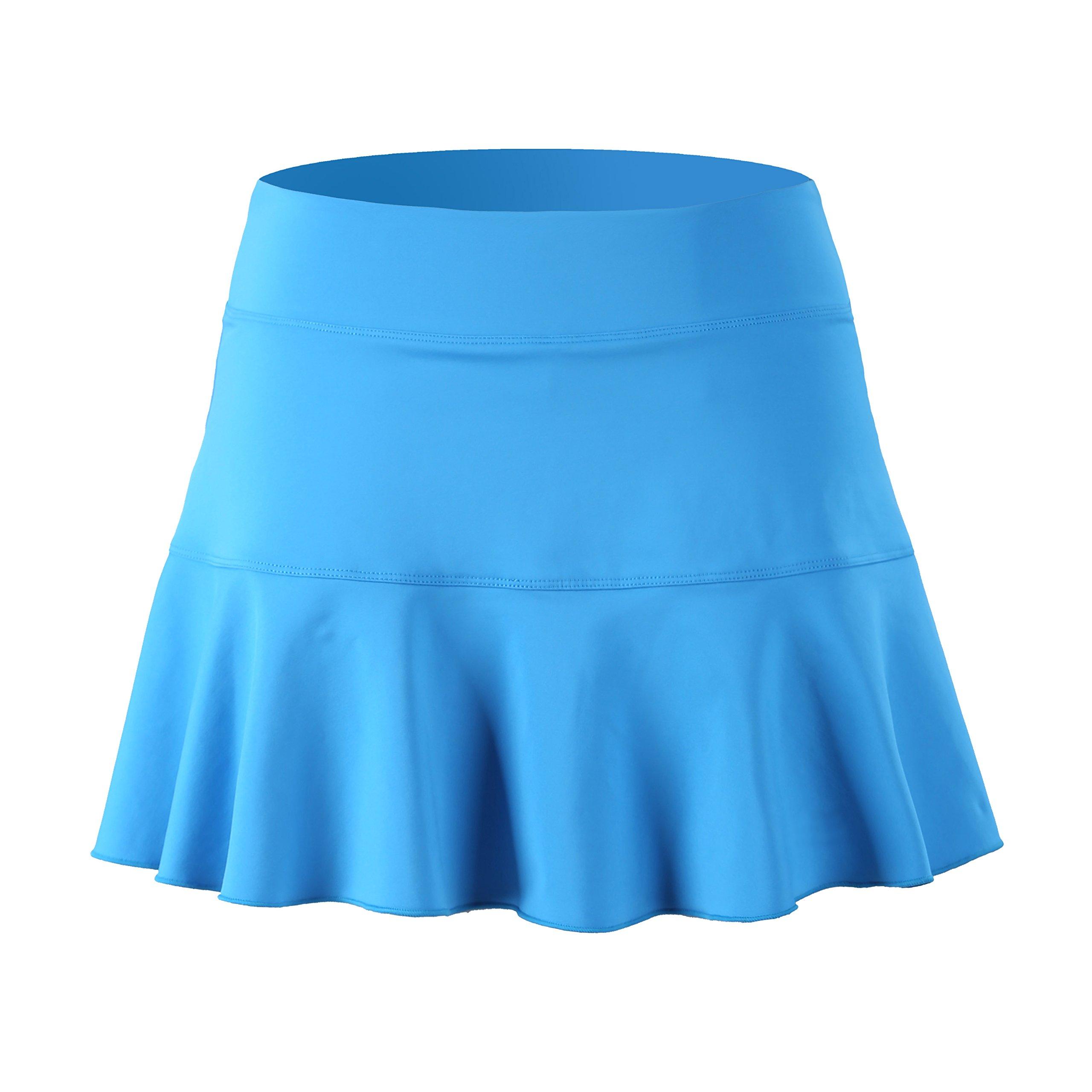 32e-SANERYI Women's Basic Elastic Tennis Skirt with Shorts Fitness Skort(sk25,XS,Sky Blue) by 32e-SANERYI