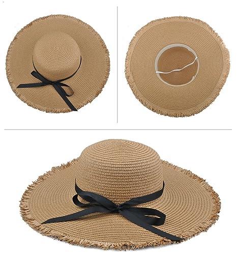 EINSKEY Sombrero Paja Mujer de Verano de ala Ancha Sombrero de Playa Plegable (001_Beige obscuro): Amazon.es: Ropa y accesorios