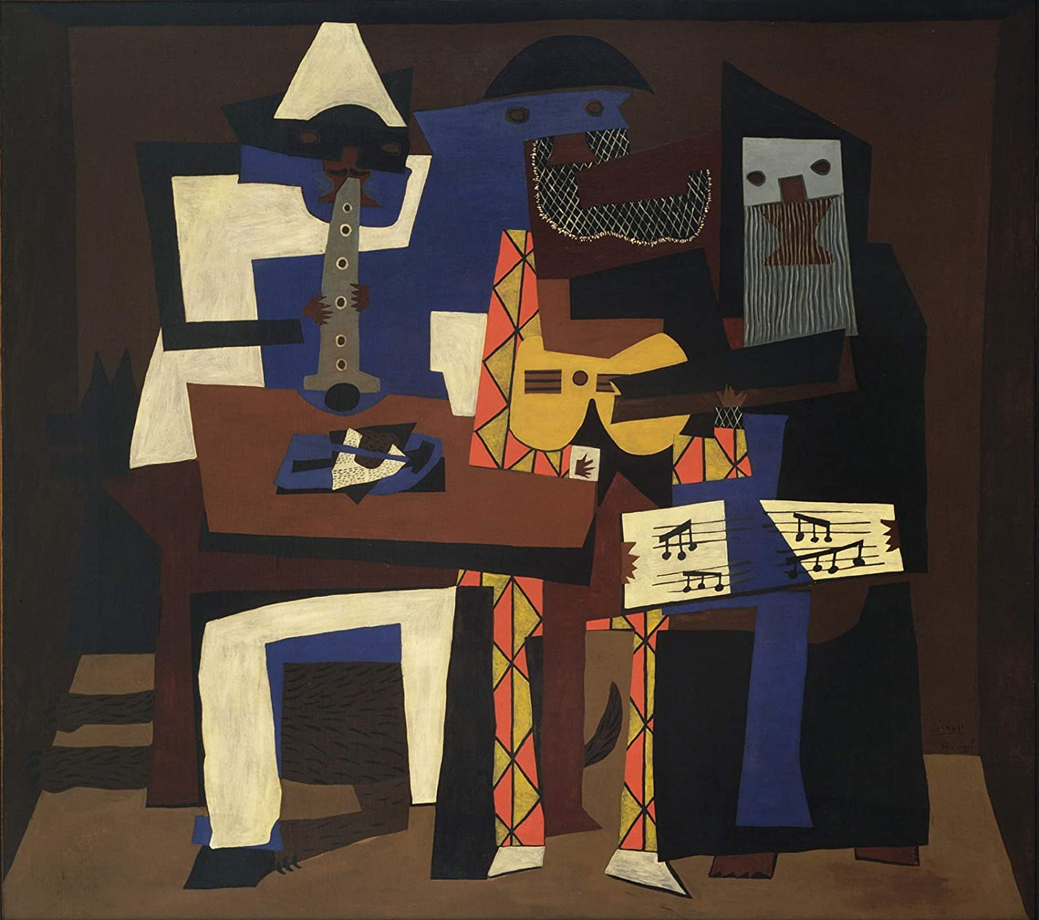 Amazon Com Pablo Picasso Three Musicians 1921 Museum Of Modern Art New York 30 X 27 Fine Art Giclee Canvas Print Unframed Reproduction Posters Prints