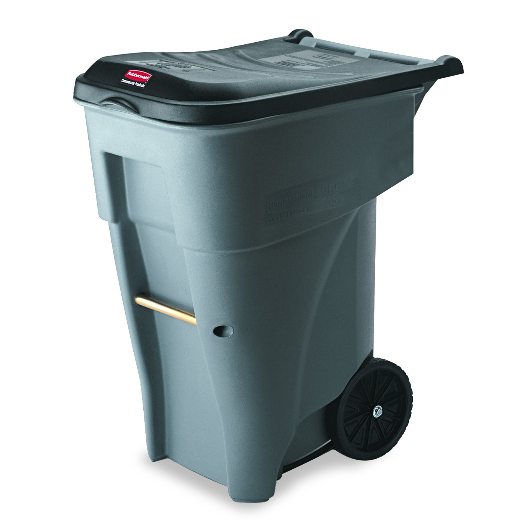 Rubbermaid Commercial BRUTE Rollout Heavy-Duty Waste Container, Square, Polyethylene, 65gal, Gray, (FG9W2100GRAY)