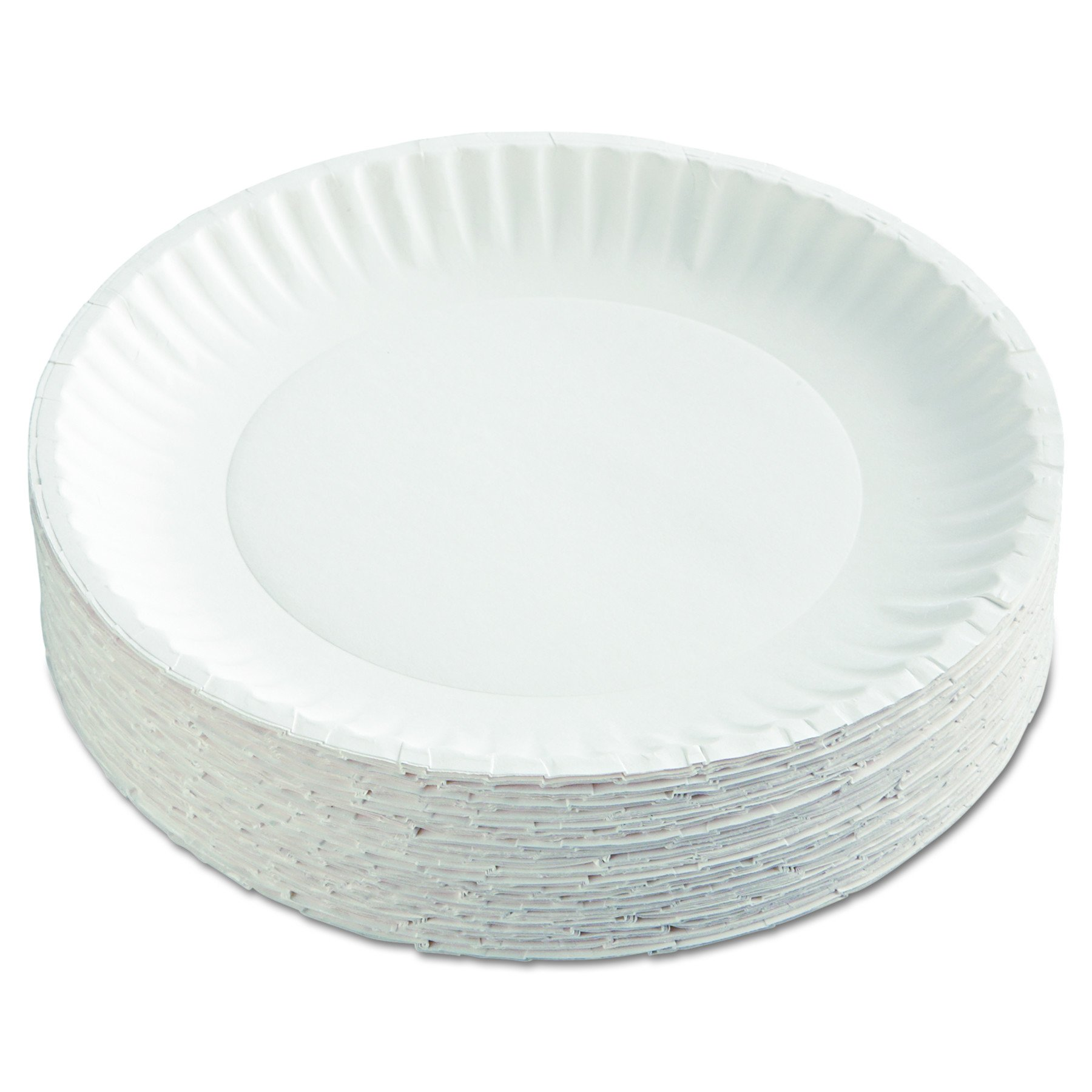 AJM Packaging Corporation PP9GRAWH Paper Plates, 9'' Diameter, White, 12 Packs of 100 (Case of 1200) by AJM Packaging