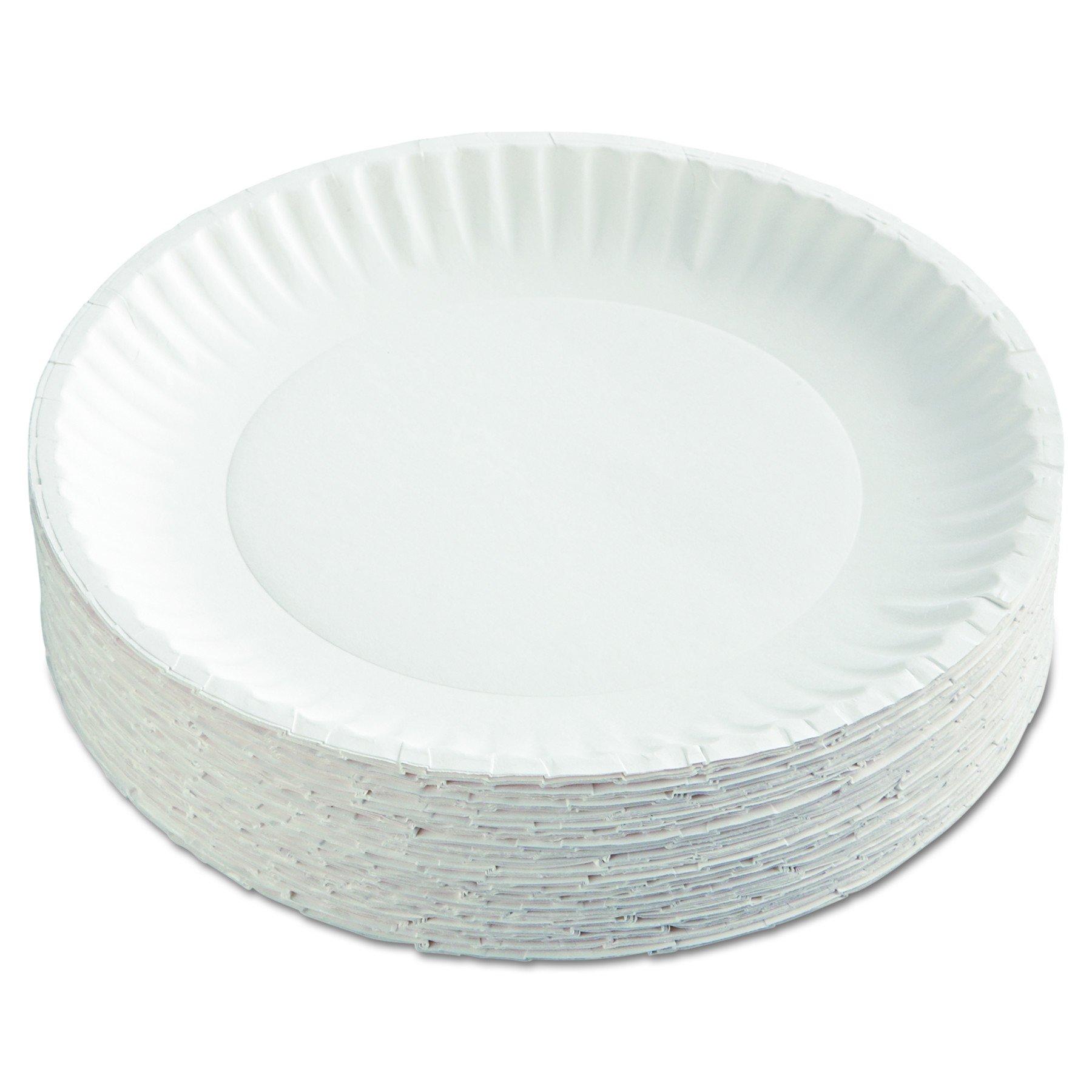 AJM Packaging Corporation PP9GRAWH Paper Plates, 9'' Diameter, White, 12 Packs of 100 (Case of 1200)