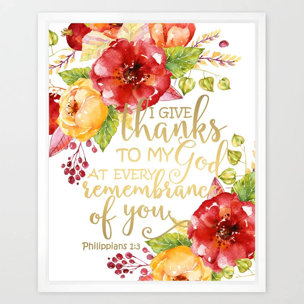 Eleville 8X10 I give Thanks to My god at Every Remembrance of You Real Gold Foil and Floral Watercolor Art Print (Unframed) Bible Verse Print Home Decor Motivational Poster Wedding WG086