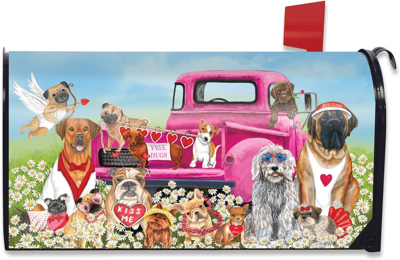 Briarwood Lane Happy Valentine's Dogs Magnetic Mailbox Cover Puppy Love Humor Standard