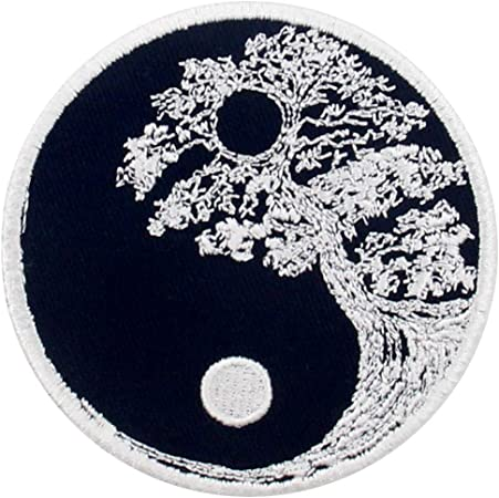 Yin and Yang with Paws Embroidered Iron Sew on Patch #1833