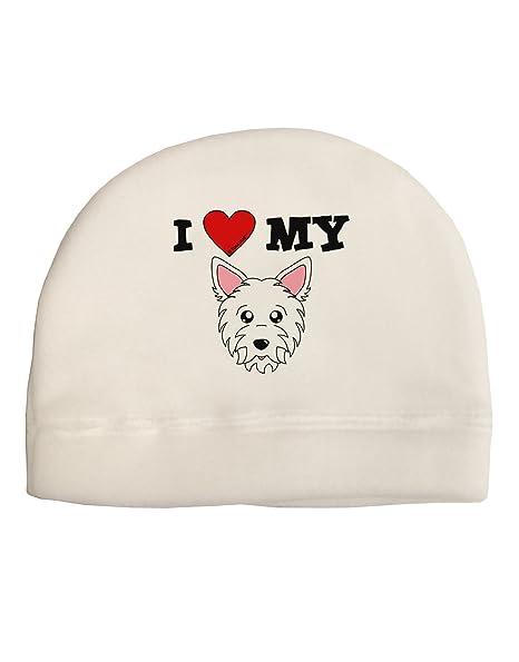 260660990f9 Amazon.com  TooLoud I Heart My - Cute Westie Dog Adult Fleece Beanie Cap Hat  White  Clothing