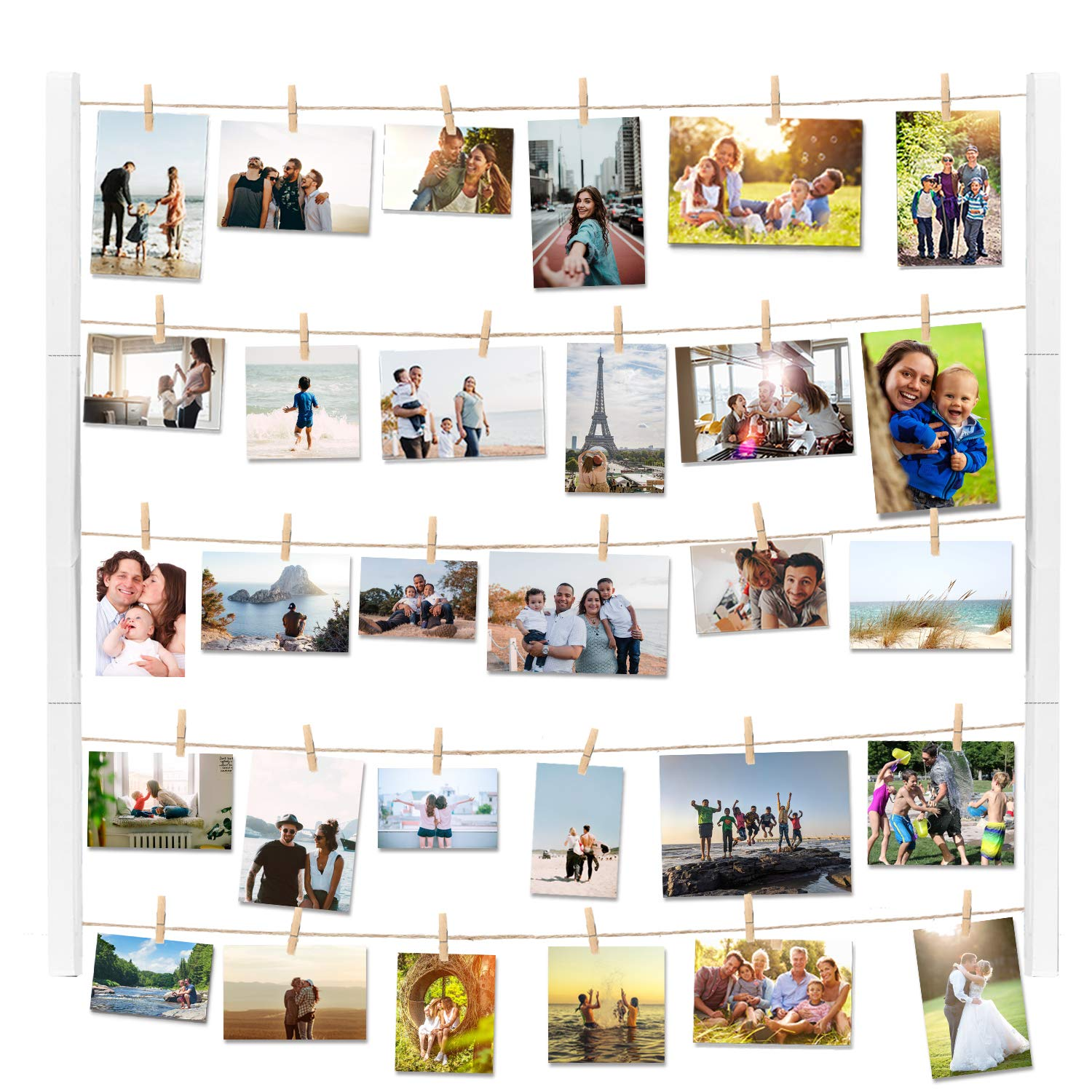 Vencipa Multi Photo Display Pictures Organizer for Hanging Wall Decor, DIY Wood Picture Frames Collage with 30 Clips, 28'' X 22'' inch Vertical & Horizontal Display (White). by Vencipa