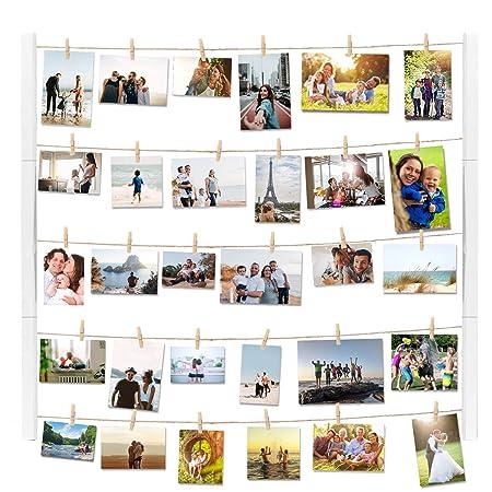 Vencipo Weiß Holz Bilderrahmen Collagen für Wand Deko Wohnzimmer, Vintage  Hänge Fotorahmen Organizer mit 30 Mini Wäscheklammern, Dekoration für ...