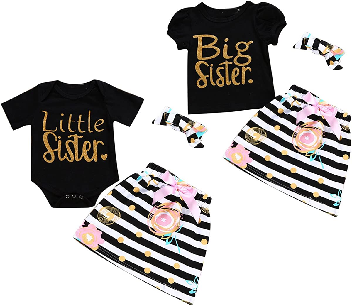 Baby Girls Sister Matching Outfits Big Little Big Sister Short Sleeve Top Romper Skirt Headband 3pcs Clothes Set Clothing