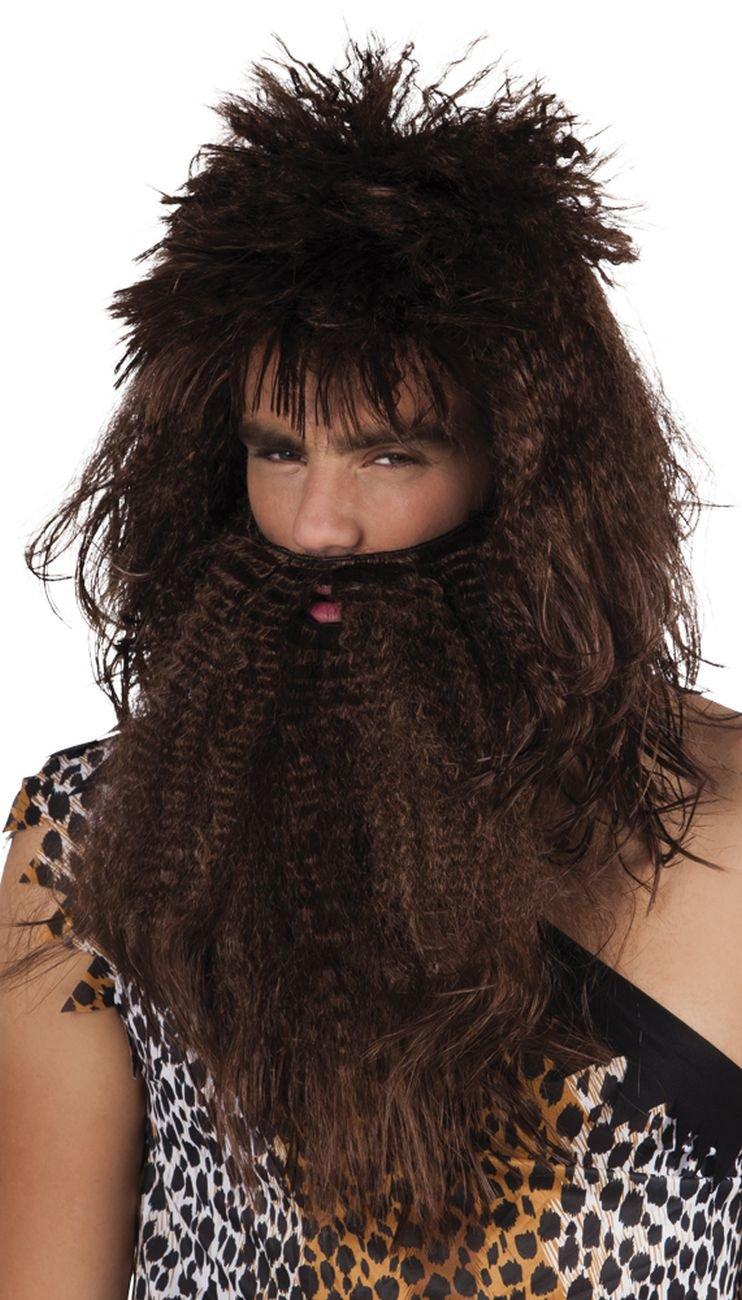 Brown caveman wig and beard (peluca): Amazon.es: Juguetes y juegos