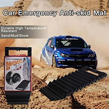 Ideal to Unstuck Your Car from Snow and Sand Ice All-Weather Fold-able Auto Traction Mat Tire Grip Aid Universal Car Snow Mud Wheel Anti-Skid Pad Non-Slip Tire Traction Mat Grip Mud