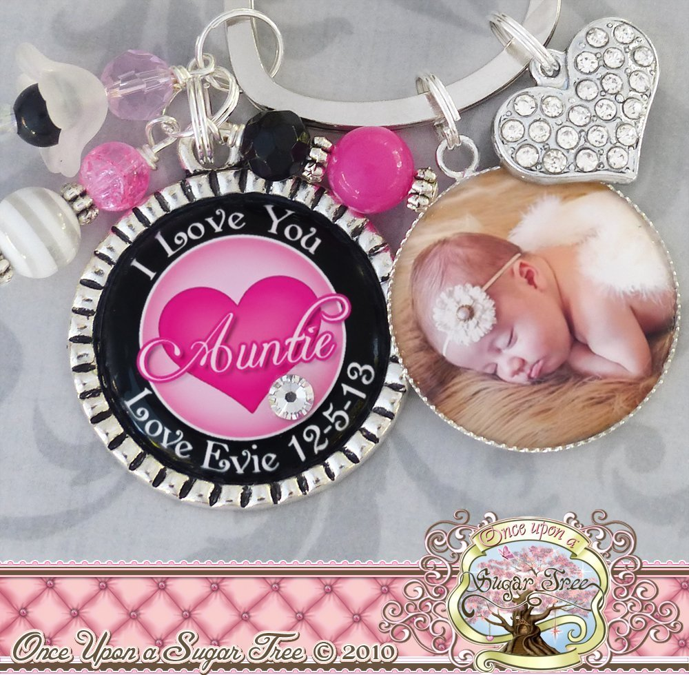 I love you Auntie Gifts, Personalized Aunt Keychain (or Necklace),  Photograph, Date of Birth, Child's Name, Pink Black