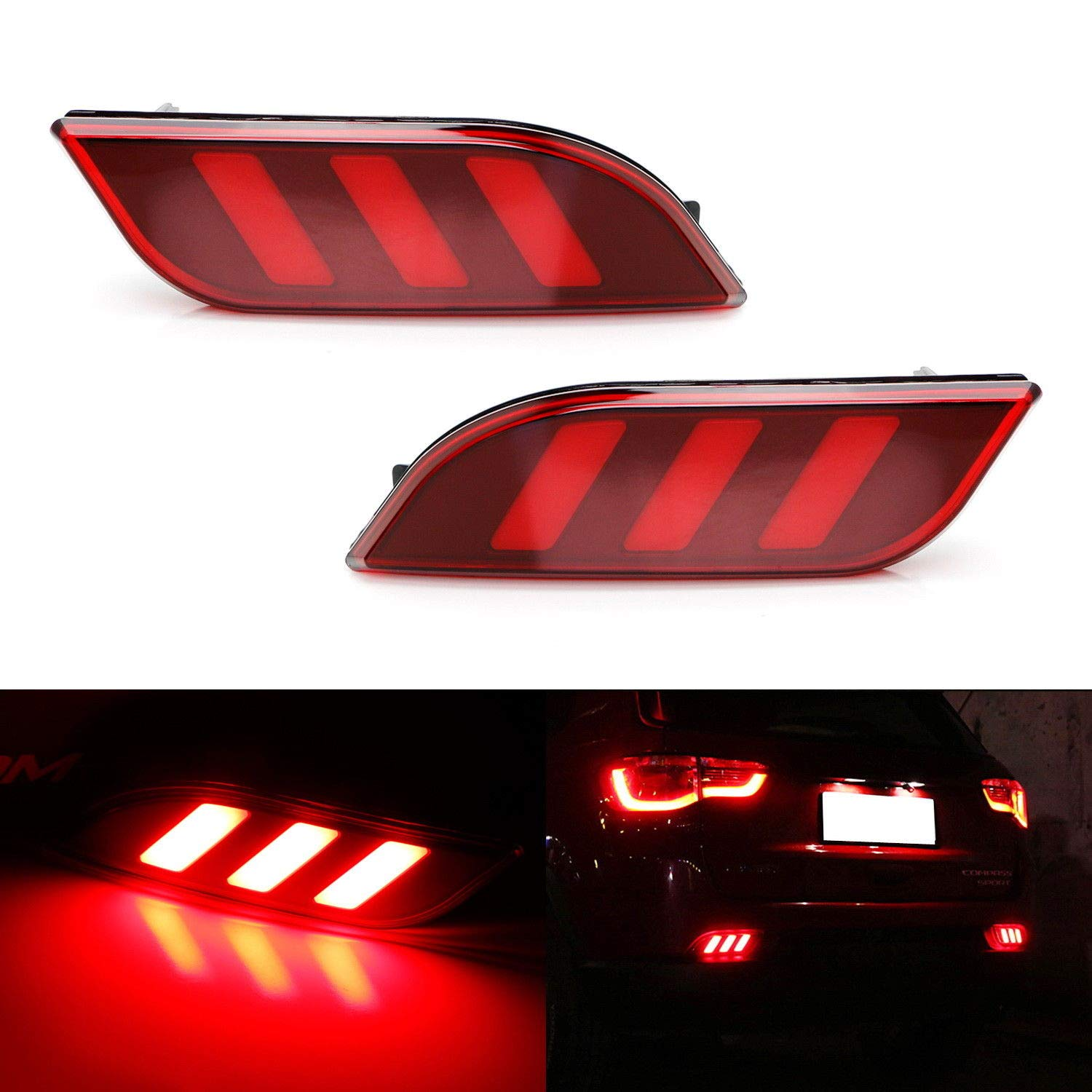 iJDMTOY Optic Tube Style LED Bumper Reflector Lights For 17-up Jeep Compass, Function as Tail, Brake & Rear Fog Lamps