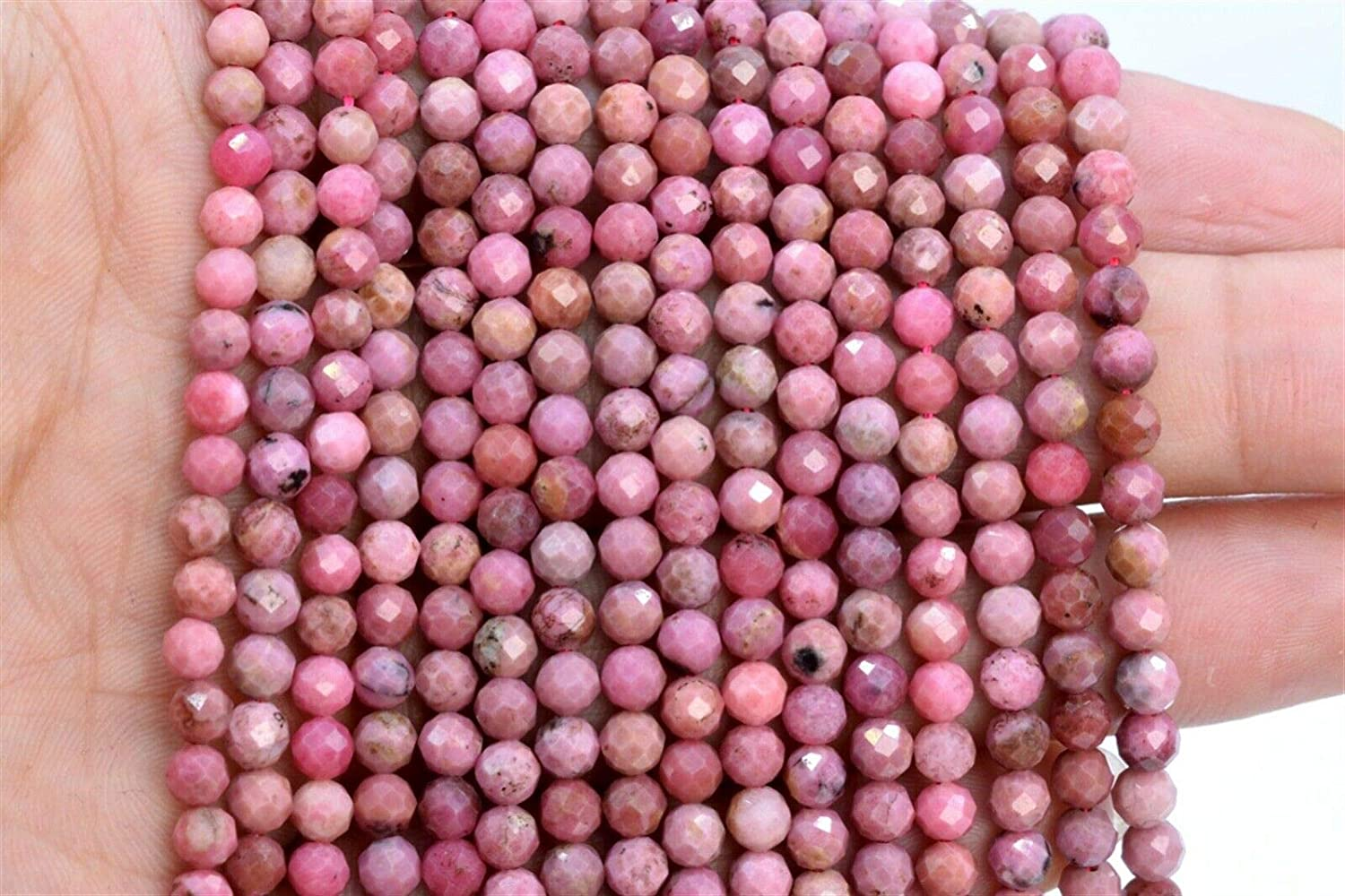 5MM Genuine Natural Rhodochrosite Bead Argentina A Faceted Round Loose Bead 7.5 nvKE-1791