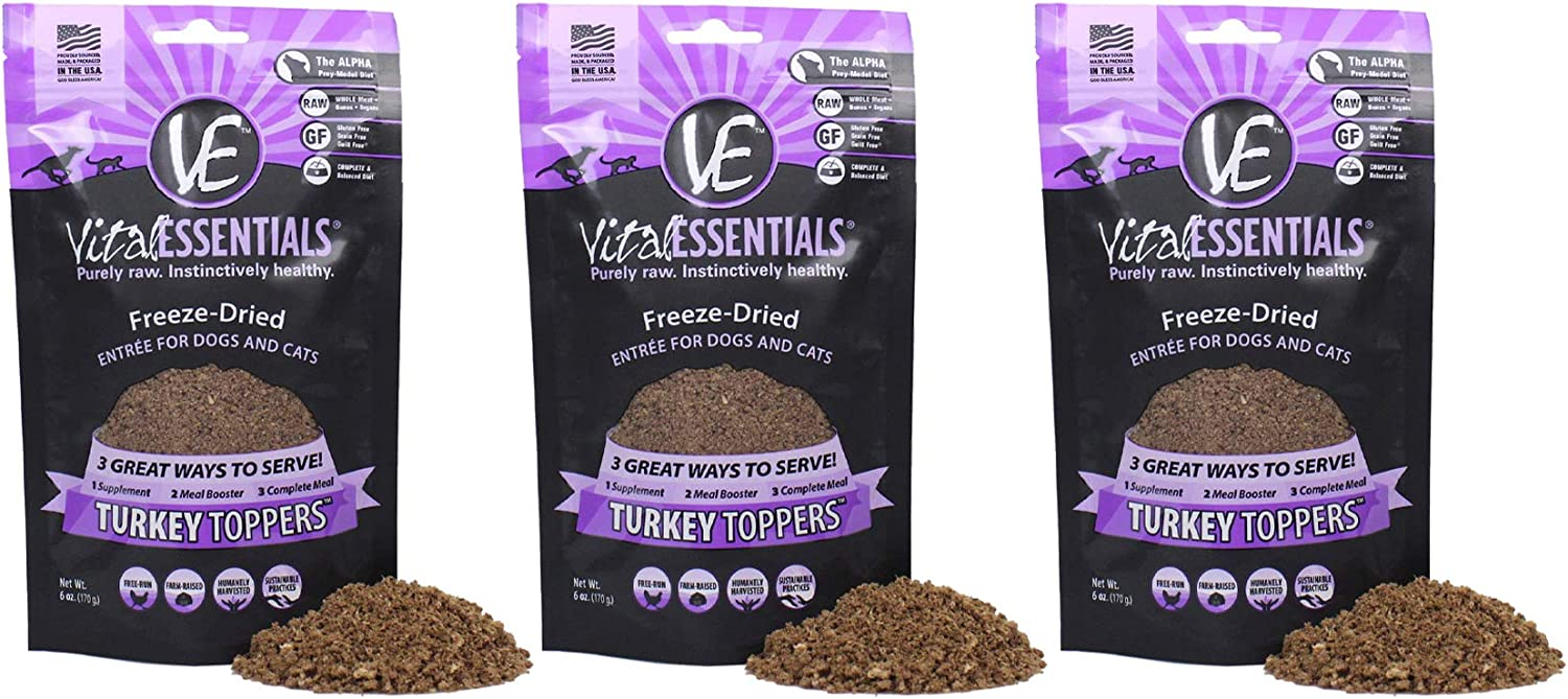 Vital Essentials Freeze Dried Turkey Topper - Meal Mixer for Dogs Or Cats - 100% USA All Natural - All Breeds - Grain Free-Picky Eater Approved- Sprinkle on Kibble or Add Water for Gravy 6 oz- 3 pack