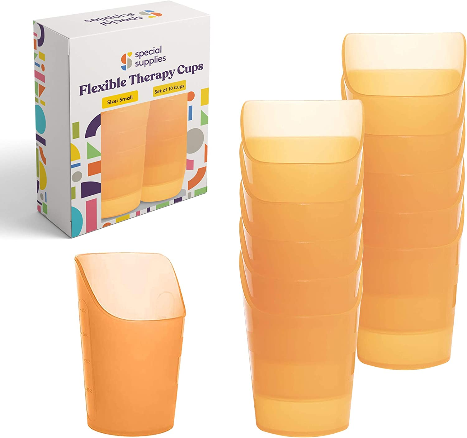 Special Supplies Pack of 10 Small Flexible Drinking Cups with Nose Mold Cutout for Physical Therapy, Recovery, and Rehabilitation, BPA-Free Drink Tumblers, 3 oz.