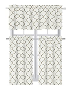 Regal Home Collections Shabby Lattice Kitchen Curtains - Assorted Colors & Sizes (Hunter Linen, Complete Kitchen Curtain Set)