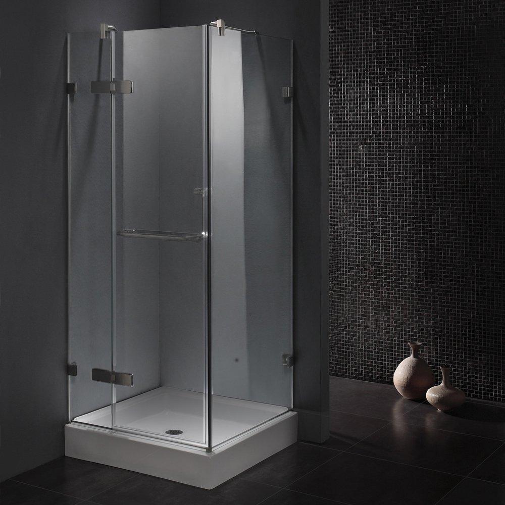 VIGO Monteray 32 x 32-in. Frameless Shower Enclosure with .375-in ...