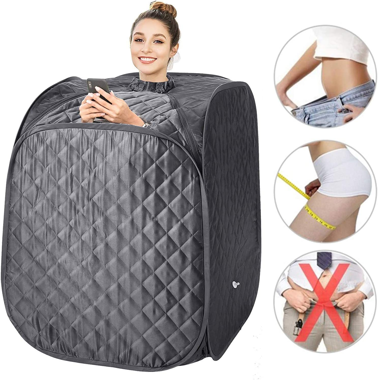 pardise 2L Portable Steam Sauna, Folding Personal Home Sauna Spa Tent Slim Weight Loss Detox Therapy, One Person Sauna with Remote Control,Timer, Foldable Chair US Plug Grey