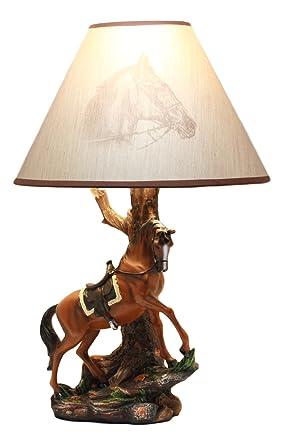 Ebros light fantastik cowboy chestnut brown horse stallion with ebros light fantastik cowboy chestnut brown horse stallion with saddle table lamp with horse printed shade aloadofball Gallery