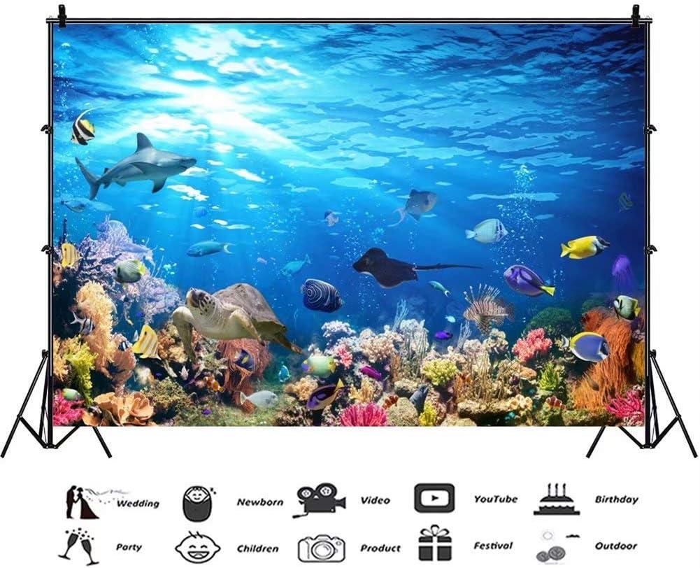 10x7ft Wonderful Undersea World Vinyl Photography Background Marine Organism Backdrop Blue Seawater Tropical Fish Colorful Coral Reefs Sea Turtle Shark Deep Water Diving Aquarium Photo