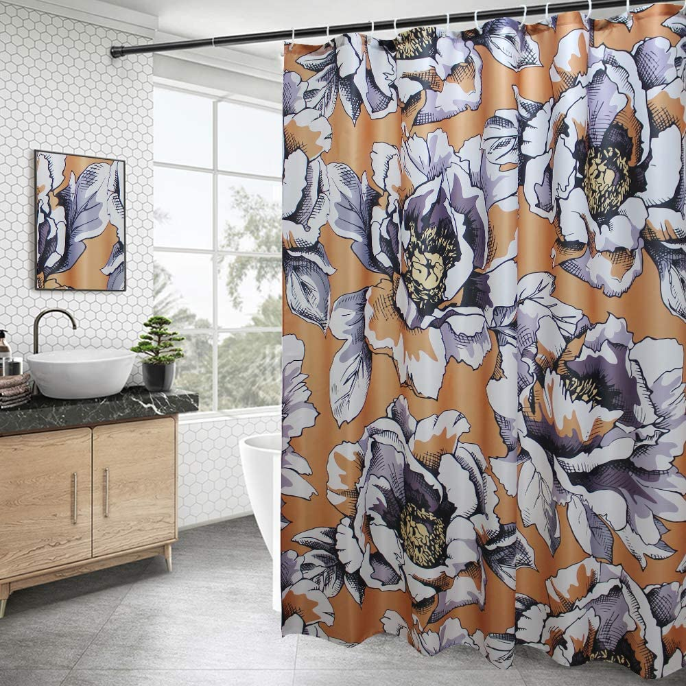 AooHome Fabric Floral Design Shower Curtain, Heavy Duty Peony Decorative Bathroom Curtain with Hooks, Weighted Hem, Waterproof, Orange, 70W x 72L inch