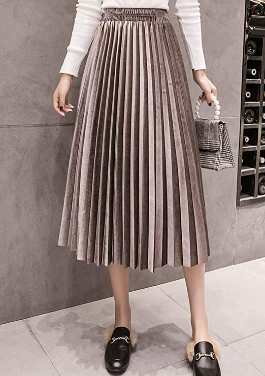 SCHHJZPJ Fall Winter Skirt, Women's Velvet High Waist Pleated Midi Skirts (Light Brown, S)