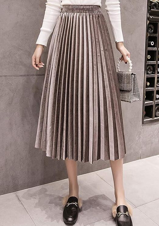 天鹅绒高腰百褶长裙,搭配毛衣完美