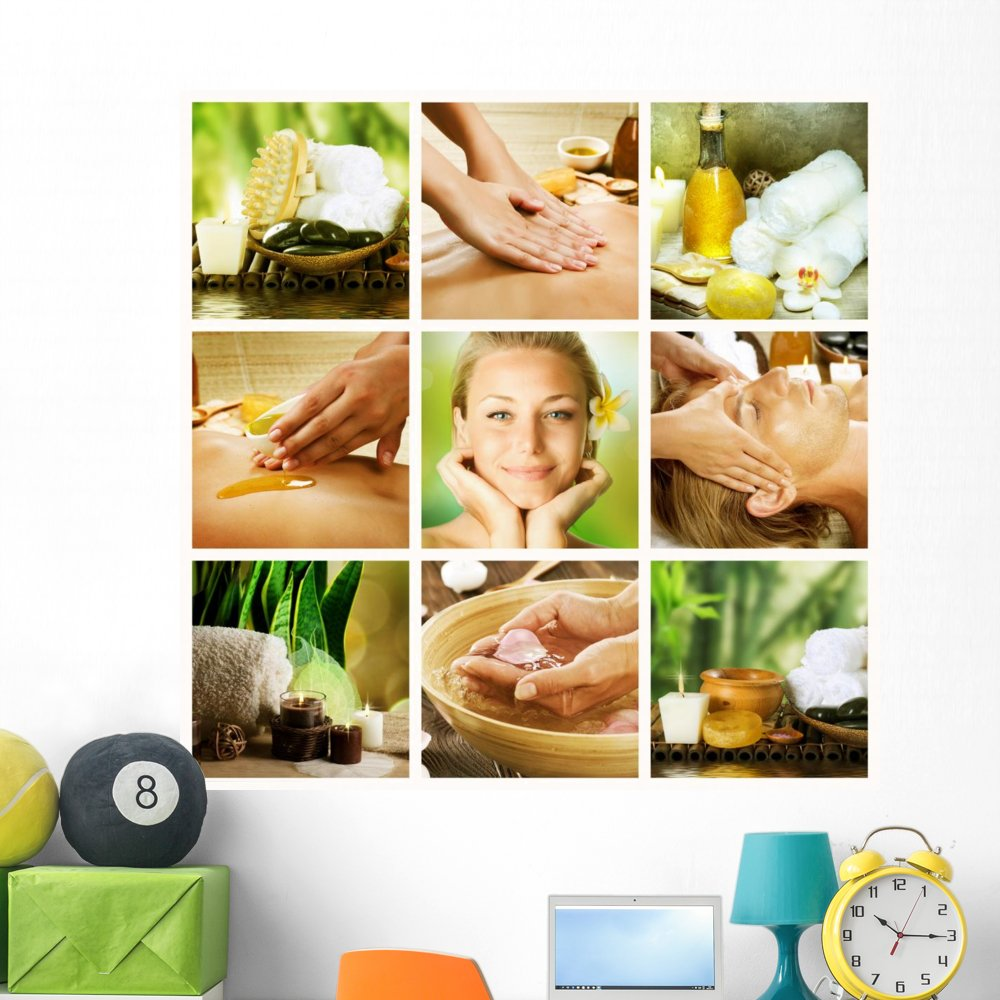 Wallmonkeys Spa Collagedayspa Concept Wall Decal Peel and Stick Graphic WM325614 (48 in H x 48 in W)