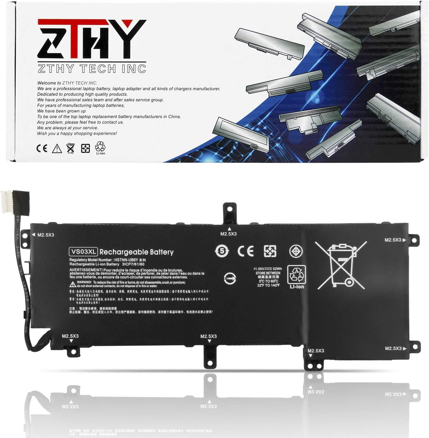 ZTHY 52Wh VS03XL Laptop Battery for HP Envy 15-AS 15-AS000 AS001NG AS101NG AS005NG AS003NG AS004NG AS006NG AS014WM AS091MS AS025TU AS027TU AS032TU AS101NG AS133CL 849047-541 849313-850 HSTNN-UB6Y