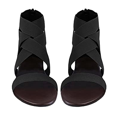 9453ed1887abe Meilidress Women Summer Fashion Elastic Ankle Strap Open Toe Flat Sandals  zipper Shoes Bohemian Sandals