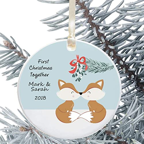 Personalised Couples 1st First Christmas Together Wood Xmas Bauble Keepsake Gift