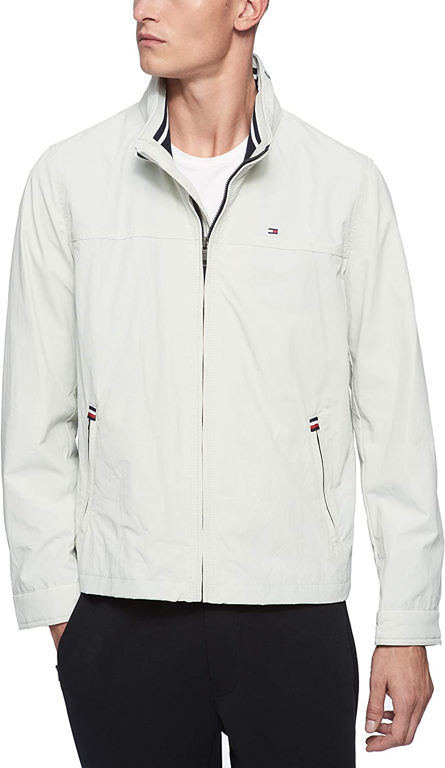 Tommy Hilfiger mens Stand Collar Lightweight Yachting Jacket