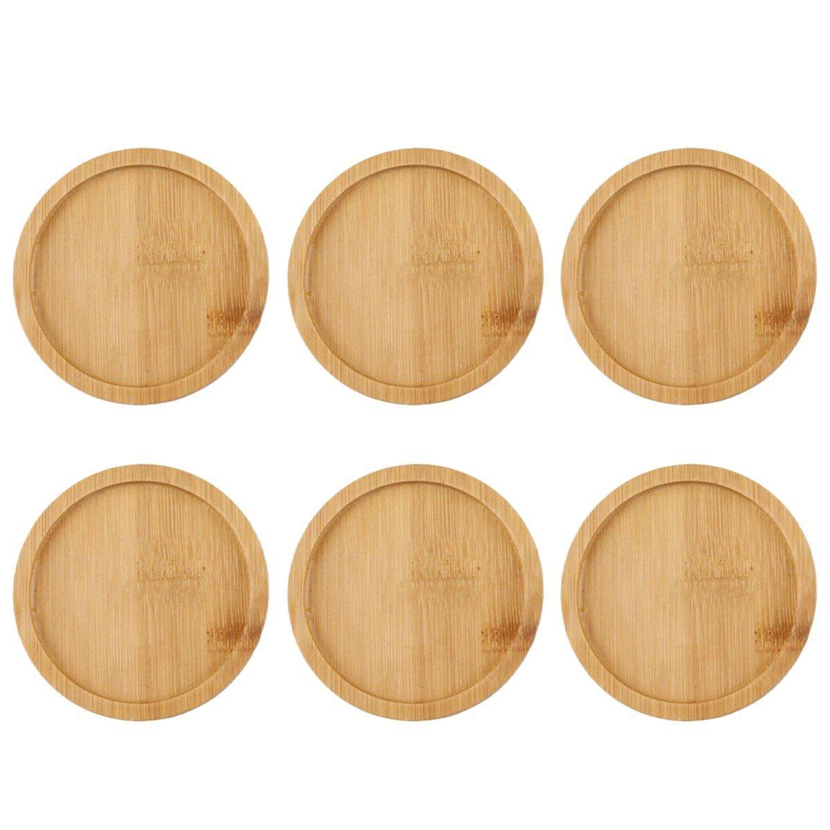 9,5/x 9,5/cm OUNONA Untersetzer f/ür den Innen- und Au/ßenbereich rund Sukkulenten-Blumentopf Bambus