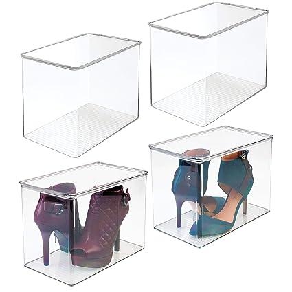 mDesign Juego de 4 cajas para guardar zapatos – Cajas de plástico apilables para ordenar zapatos