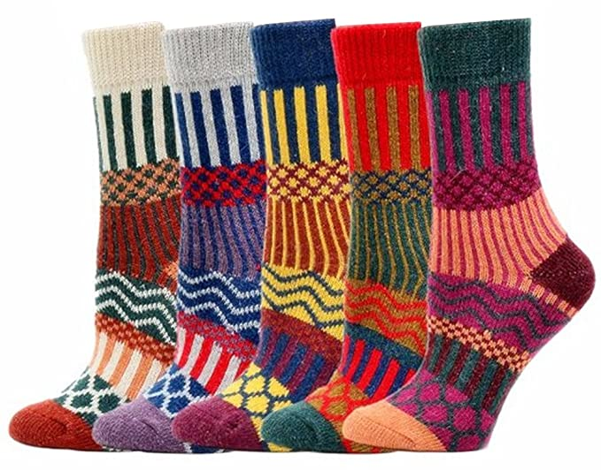KOOYOL Womens Vintage Style Cotton Crew Socks 5 Pair Pack
