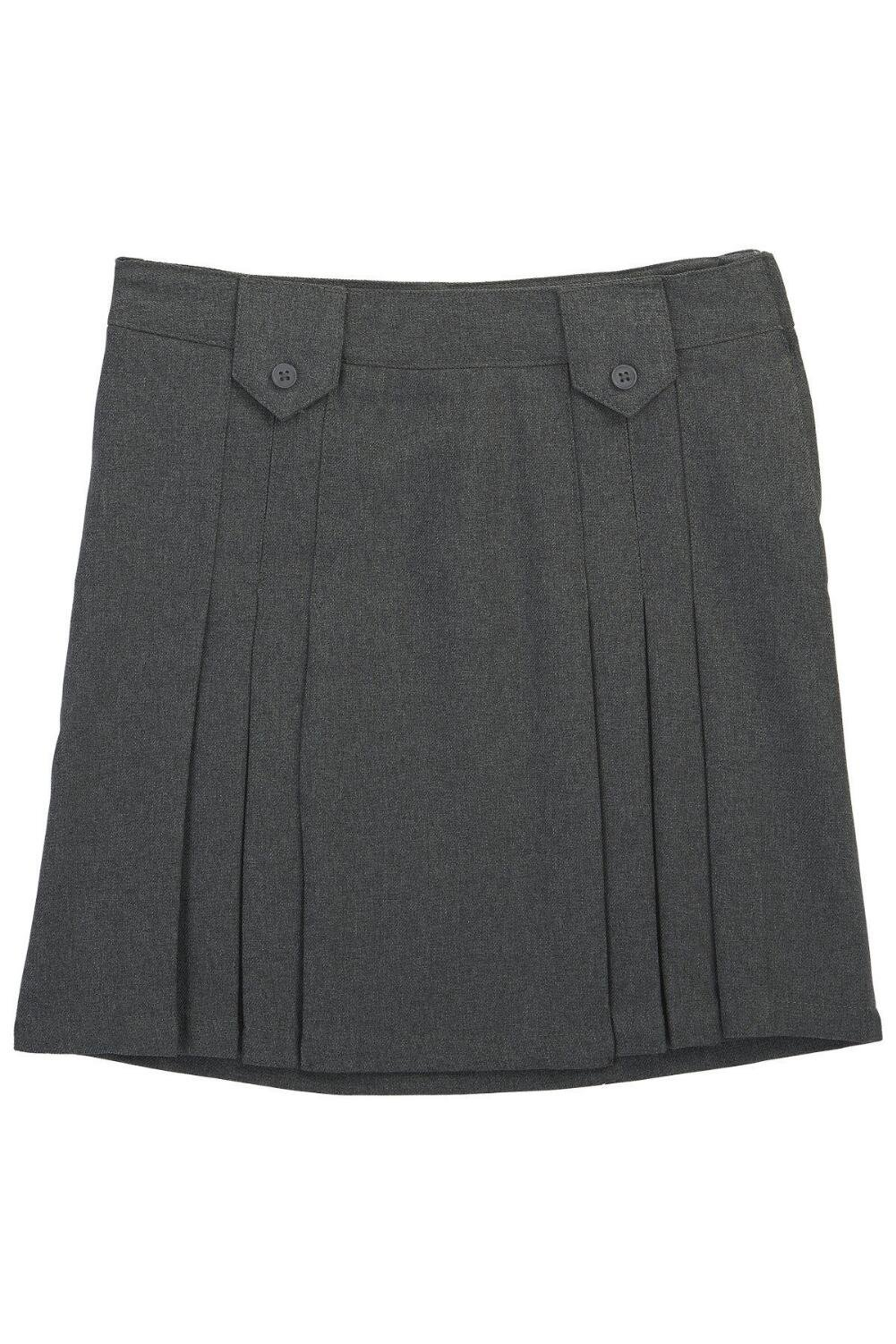French Toast Big Girls' Front Pleated Tab Skirt, Heather Gray, 16